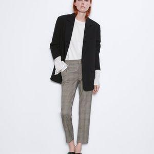 ZARA Tweed Chino Fit Pants Dark Brown Size 6